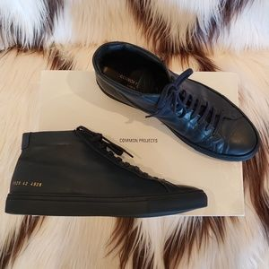 Common Projects Men's navy blue high top sneakers